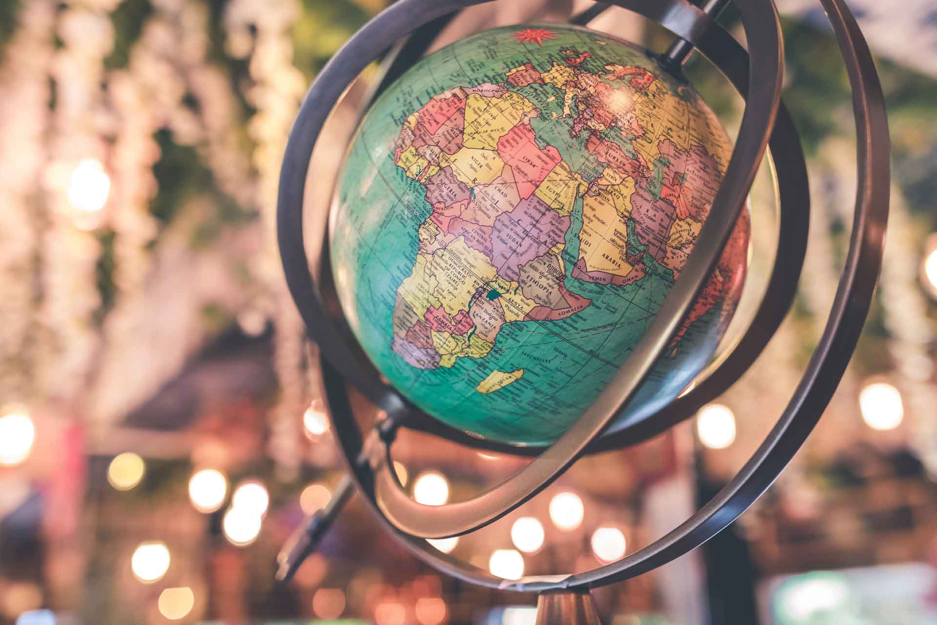 Photo of a globe of the world.